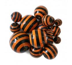 Rayures Perle en bois - Rayures - Noir et orange Babachic by Moodywood