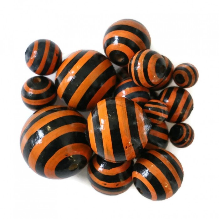 Perle en bois - Rayures - Noir et orange