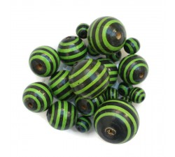 Stripes Wooden beads - Stipes - Black and green Babachic by Moodywood