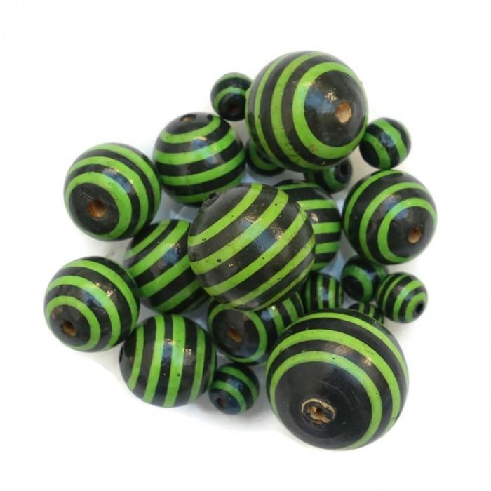 Cuentas de madera - Rayas - Negro y verde