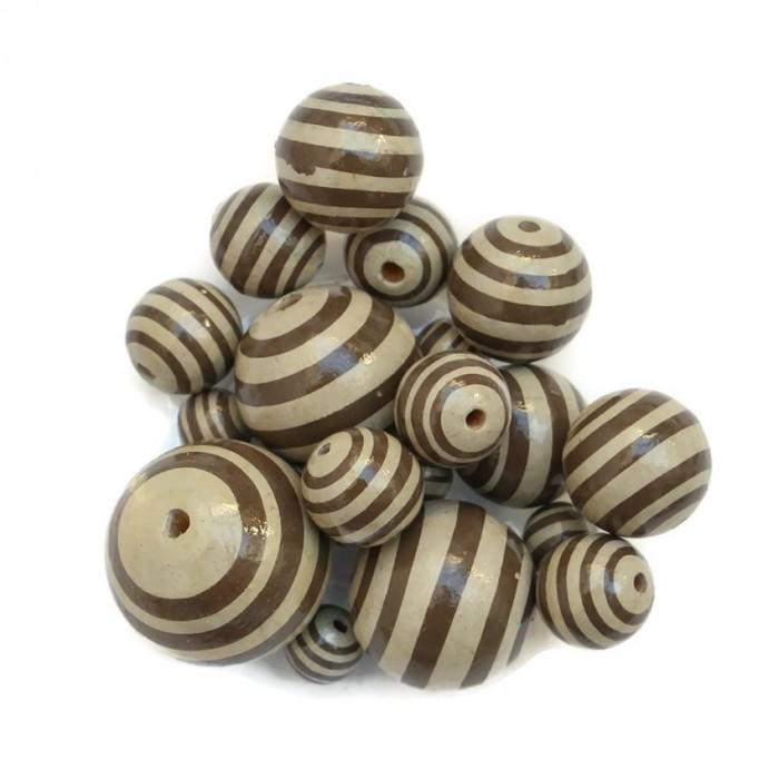 Perle en bois - Rayures - Beige et marron