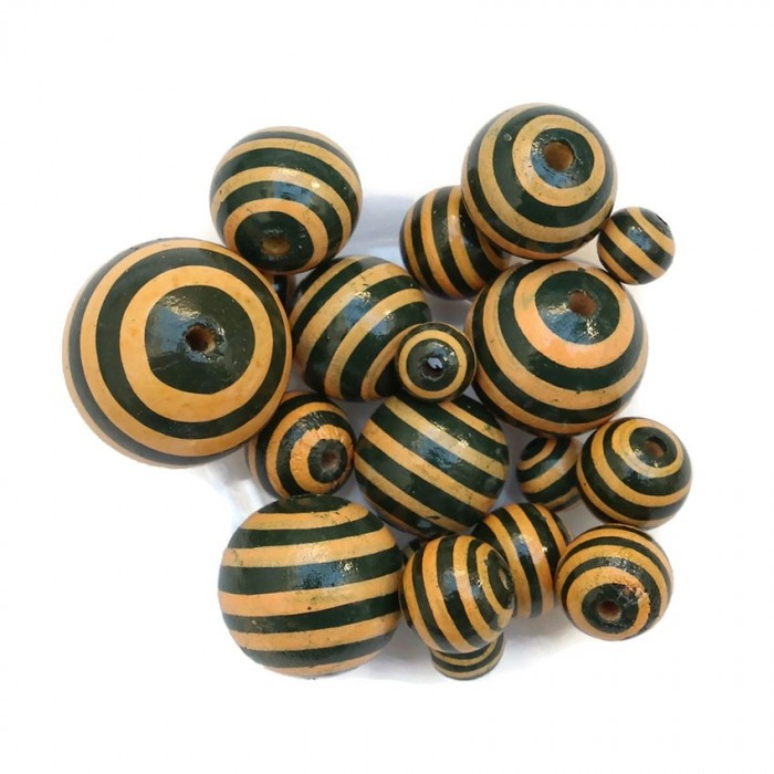 Wooden beads - Stipes - Black and beige