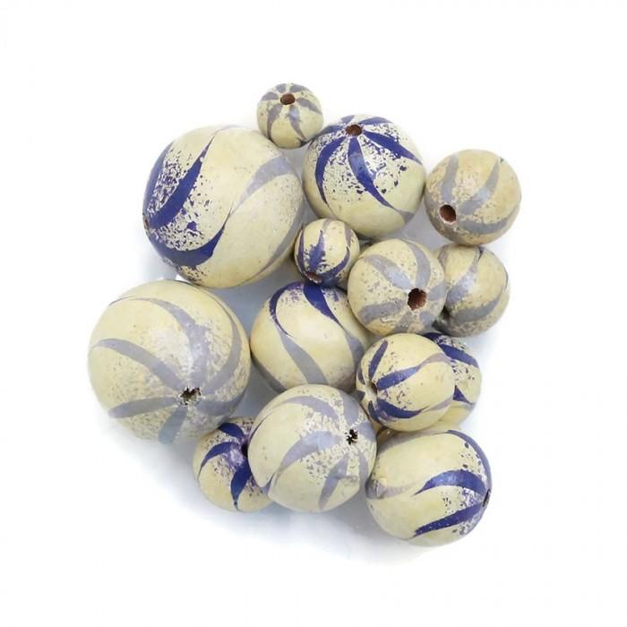 Perle en bois - Zébrée - Blanc, lilas et bleu