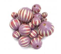 Zebra Wooden beads - Zebra - Lilac Babachic by Moodywood