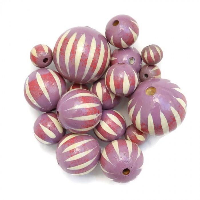 Perle en bois - Zébrée - Lilas