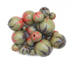 Zebra Wooden beads - Zebra - Lilac, pink and grey Babachic by Moodywood