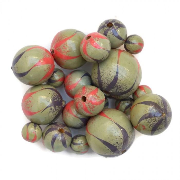 Perle en bois - Zébrée - Lilas, rose et gris