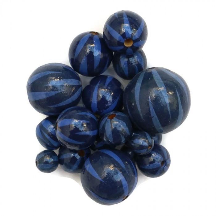 Perle en bois - Zébrée - Bleu marine