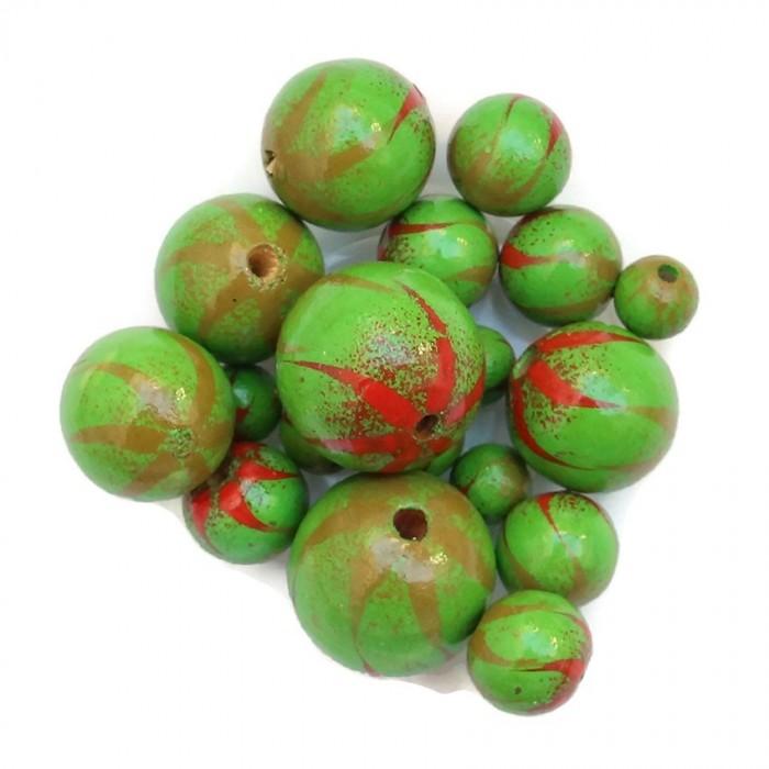 Perle en bois - Zébrée - Vert et rouge