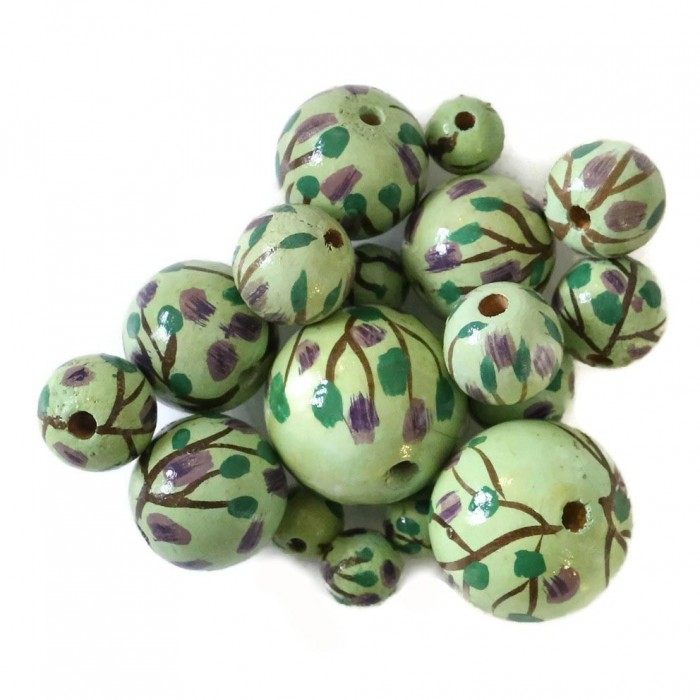 Perle en bois - Grimpante - Vert et violet