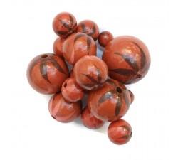 Perle en bois - Zébrée - Marron, corail et rose