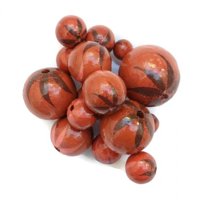 Wooden beads - Zebra - Brown