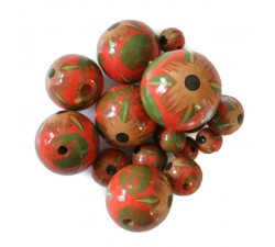 Beads Wooden beads - Hibiscus - Red and green