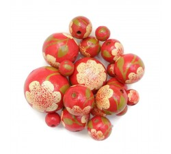 Perles en bois Perle en bois - Peltée - Blanc et rouge