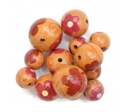 Flowers Wooden beads - Ballerina - Orange and burgundy Babachic by Moodywood