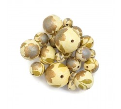 Flowers Wooden beads - Peltée - Gold and kaki Babachic by Moodywood