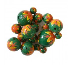 Flowers Wooden beads - Flame - Green, yellow and orange Babachic by Moodywood