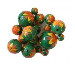 Fleurs Perle en bois - Flamme - Vert, jaune et orange Babachic by Moodywood