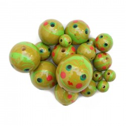 Faces Wooden beads - Doll - Green Babachic by Moodywood
