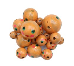 Faces Wooden beads - Doll - Salmon Babachic by Moodywood