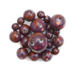 Faces Wooden beads - Doll - Plum and brown Babachic by Moodywood