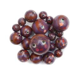 Visages Perles en bois - Poupée - Aubergine et marron Babachic by Moodywood
