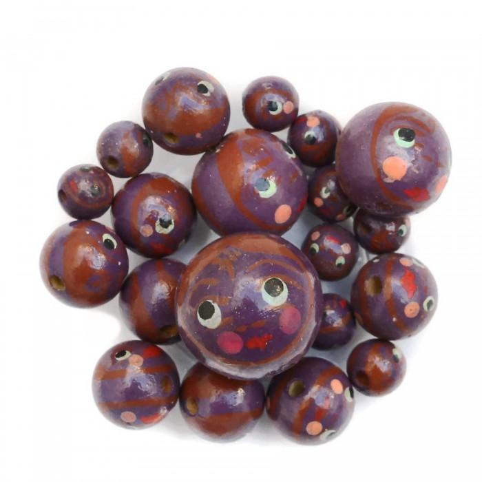 Perles en bois - Poupée - Aubergine et marron