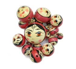 Faces Wooden beads - Doll - Antic pink Babachic by Moodywood