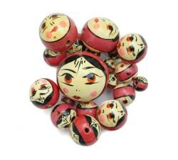 Perles en bois - Poupée - Vieux rose