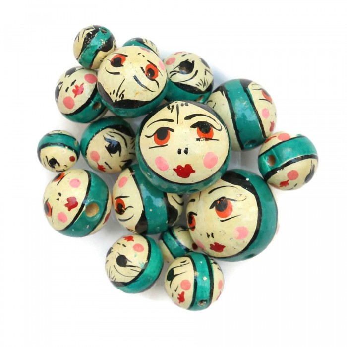 Wooden beads - Doll - Dark turquoise