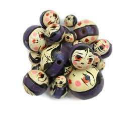 Faces Wooden beads - Doll - Dark purple Babachic by Moodywood