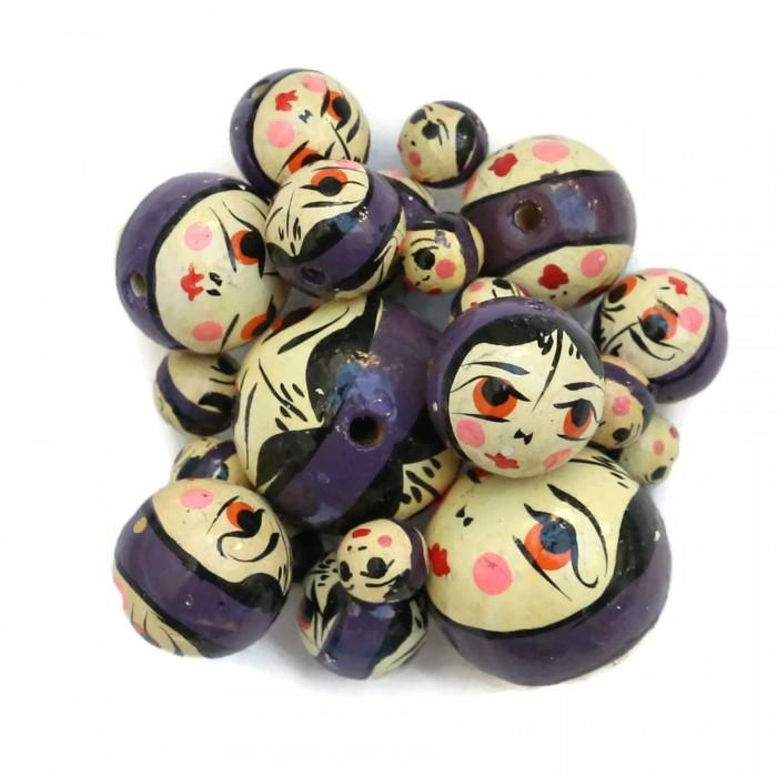 Wooden beads - Doll - Dark purple