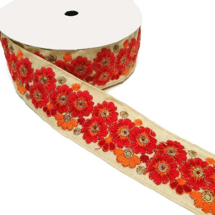 Pasamanería india - Marguerite - Rojo - 45 mm