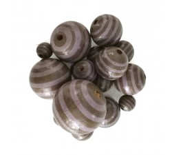 Stripes Wooden beads - Stipes - Brown and purple Babachic by Moodywood