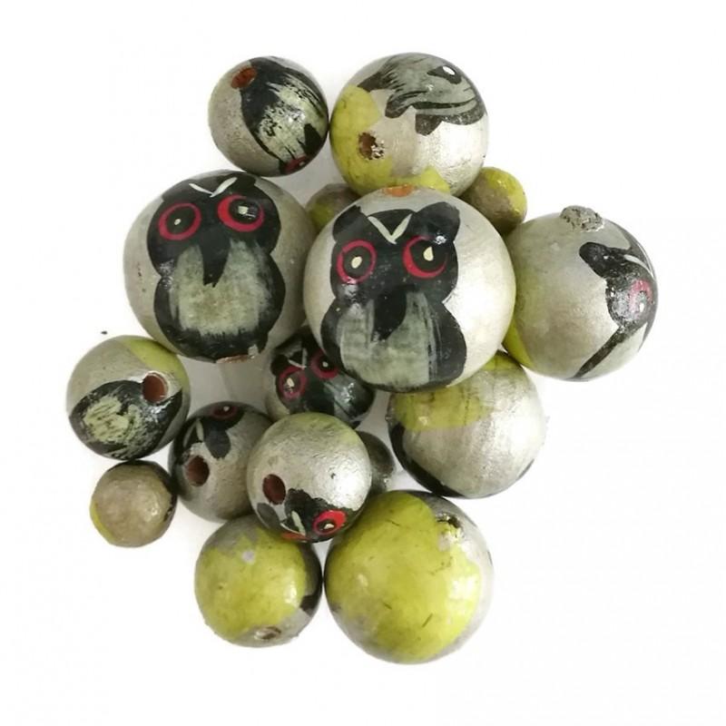 Perles en bois - Hibou - Argenté