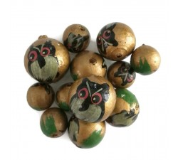 Wooden beads - Owl - Gold