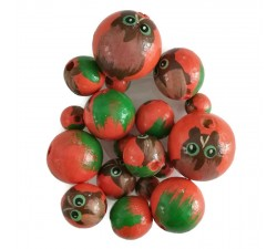 Wooden beads - Owl - Orange and green