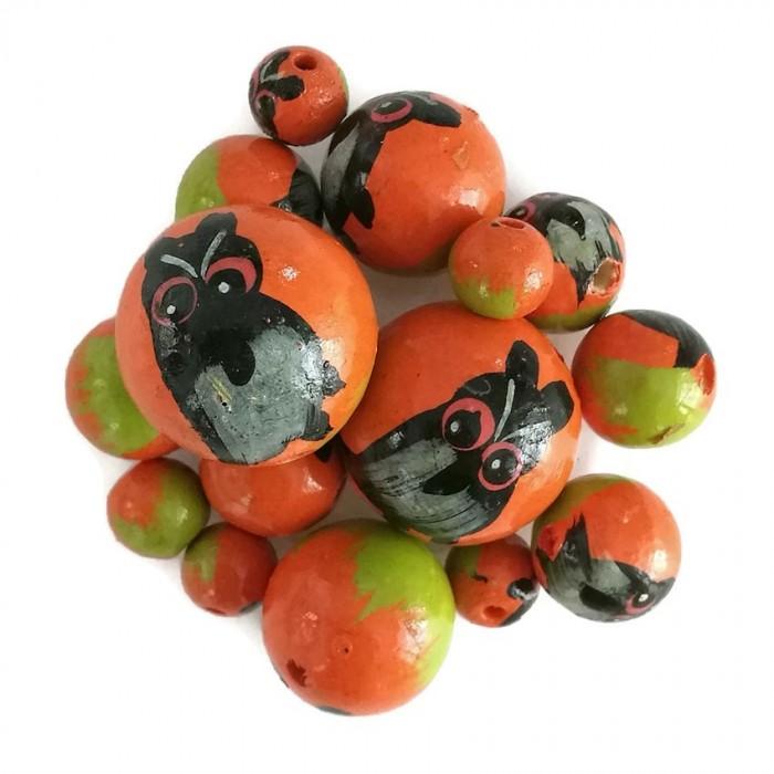Wooden beads - Owl - Orange and black