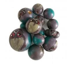 Perles en bois - Hibou - Lilas foncé