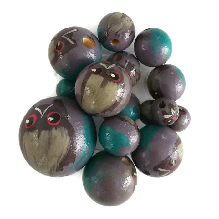Wooden beads - Owl - Dark lilac