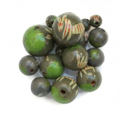 Wooden beads - Zebra - Kaki