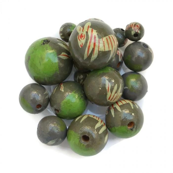 Perles en bois - Zèbre - Kaki