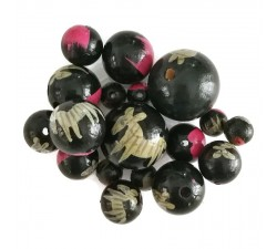 Wooden beads - Zebra - Black and pink