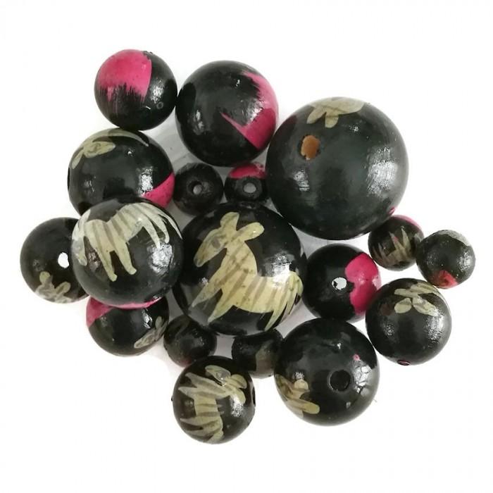 Perles en bois - Zèbre - Noir et rose