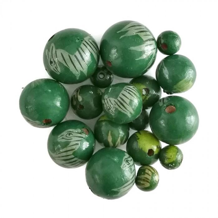 Wooden beads - Zebra - Green
