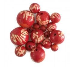 Wooden beads - Zebra - Red and orange