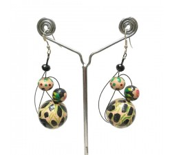 Boucles d'oreilles Beige/noir - 6 cm - Winter nights