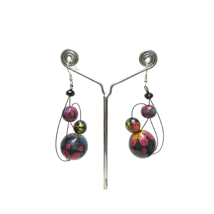 Earrings Plum - 6 cm -  Winter nights