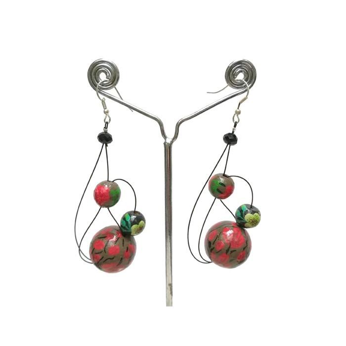 Earrings Green/red - 6 cm -  Winter nights