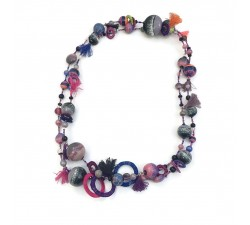 Long necklace - Purple - Splash